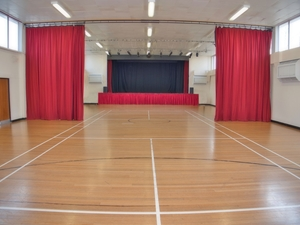 Central curtains and stage